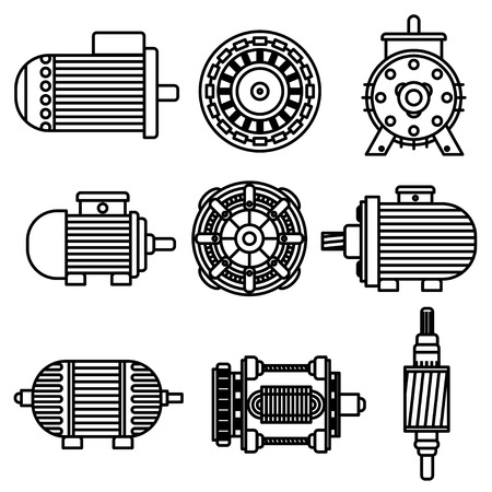 Electric motor vector icons. Black and white Vector illustration. Isolated on white