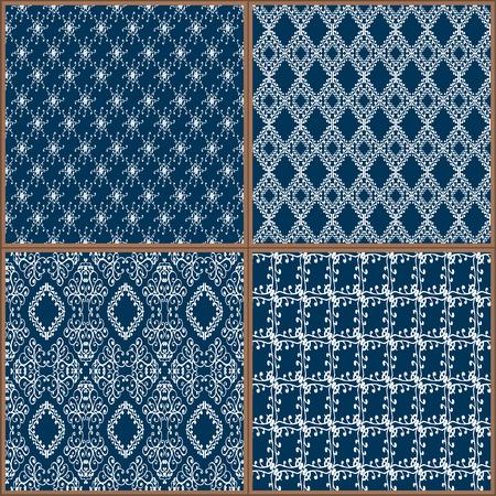 Indigo Blue Azulejos Colección del ornamento del piso. Magnífico modelo inconsútil del remiendo de pintado colorido estaño esmaltado Tilework Cerámica tradicional de la vendimia Ilustración vectorial eps jpg fondo de la plantilla