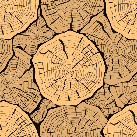 western wall: Seamless Pattern with Tree Rings. Vector background