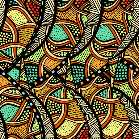 Seamless patterns with hand-drawn doodle waves and lines. Vector illustration in bright colors.
