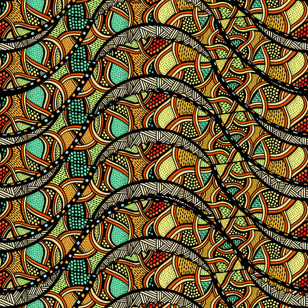 scaly: Seamless patterns with hand-drawn doodle waves and lines. Vector illustration in bright colors. Illustration