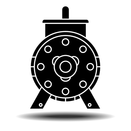 Electric motor icon with shadow. Flat vector icon on white background Illustration
