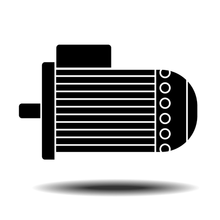 dipped: Electric motor icon with shadow. Flat vector icon on white background Illustration