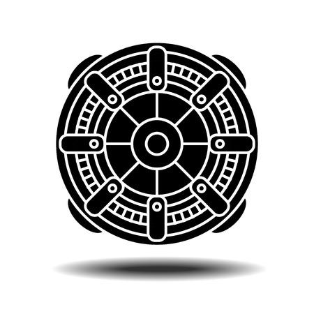 Électrique icône du moteur avec l'ombre. Flat vecteur icône sur fond blanc