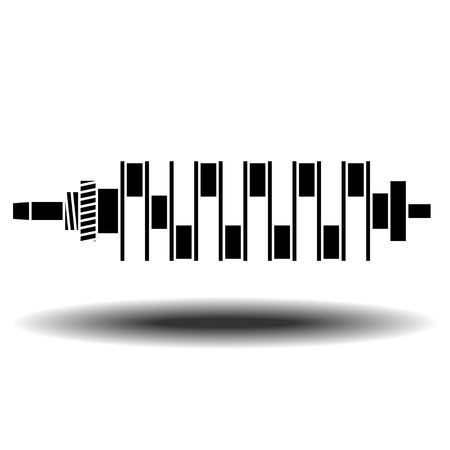 crankshaft: crankshaft of internal combustion engine vector icon with shadow. Flat vector icon on white background Illustration
