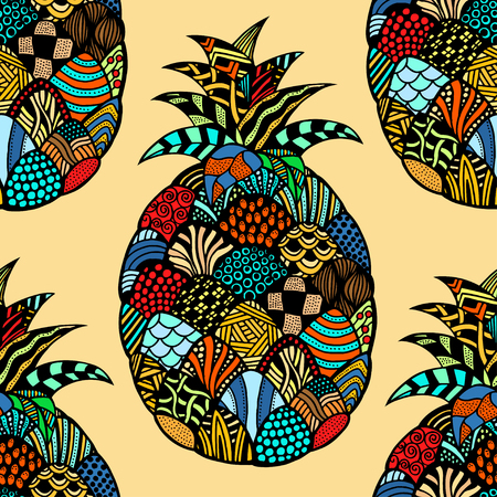exotic plant: Seamless pattern backgroud of pineapple. Plant. Exotic fruit. Line art. Colored Hand drawn. Doodle vector illustration. Illustration