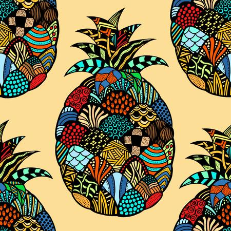 exotic fruit: Seamless pattern backgroud of pineapple. Plant. Exotic fruit. Line art. Colored Hand drawn. Doodle vector illustration. Illustration