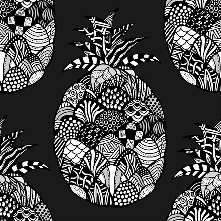 backgroud: Seamless pattern backgroud of pineapple. Plant. Exotic fruit. Line art. Monochrome Hand drawn. Doodle vector illustration.