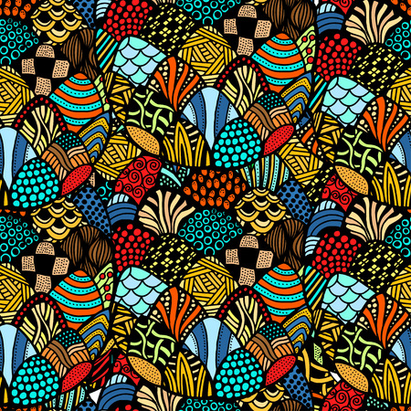 fashion art: colorful seamless abstract of hand-drawn pattern, waves background