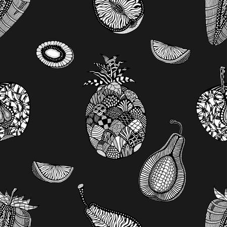 backgroud: Seamless pattern backgroud of fruit. Plant. Exotic fruit. Line art. Monochrome Hand drawn. Doodle vector illustration.