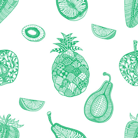 backgroud: Green pattern backgroud of fruit. Plant. Exotic fruit. Line art. Hand drawn. Doodle vector illustration.