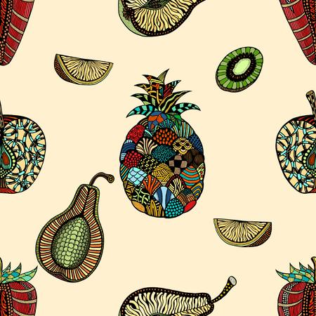 backgroud: Seamless pattern backgroud of fruit. Plant. Exotic fruit. Line art. Colored Hand drawn. Doodle vector illustration. Illustration