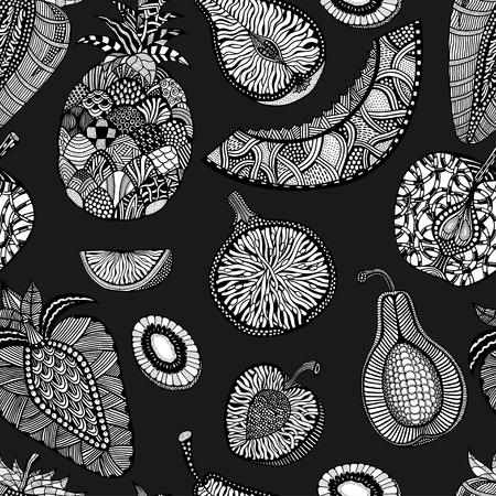 exotic fruit: Seamless pattern backgroud of fruit. Plant. Exotic fruit. Line art. Monochrome Hand drawn. Doodle vector illustration.