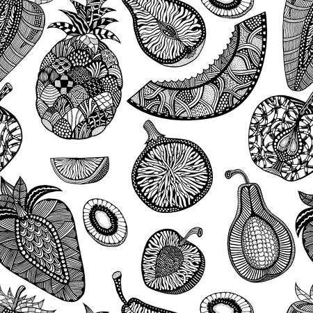 modello backgroud senza soluzione di continuità di frutta. Pianta. Frutta esotica. Linea artistica. disegnato in bianco e nero a mano. illustrazione vettoriale Doodle. Vettoriali