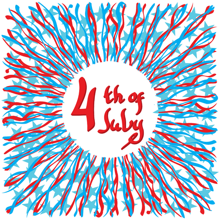 stated: Fourth of July, United Stated independence day greeting. July 4th typographic design. Usable for greeting cards, banners, print. Illustration