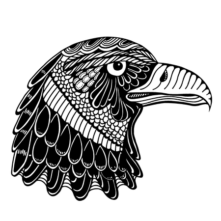 independent day: Hand Drawn head of eagle. Doodle vector illustration isolated on white background. Sketch for tattoo or indian makhenda design. Can be used for postcard, t-shirt, bag or poster.