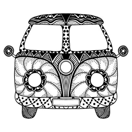 mini van: Vintage car a mini van in zentangle style. Hand drawn image. Monochrome vector illustration. The popular bus model in the environment of the followers of the hippie movement. Illustration