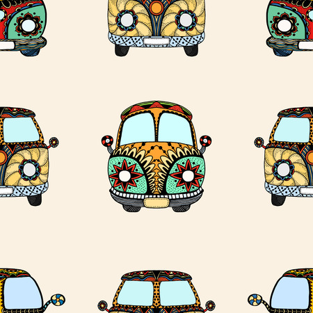 mini van: Seamless Pattern of Vintage car a mini van in zentangle style. Hand drawn image. The popular bus model in the environment of the followers of the hippie movement. Vector illustration. Illustration