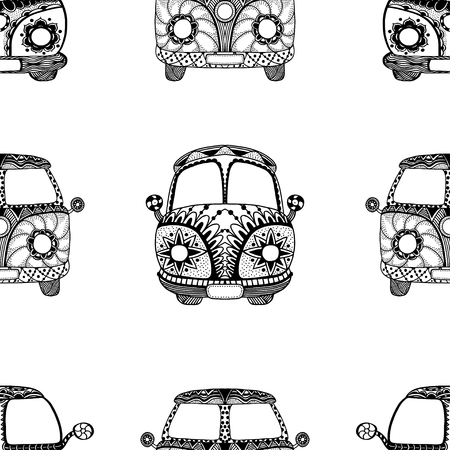 beach side: Seamless Pattern of Vintage car a mini van in zentangle style. Hand drawn image. The popular bus model of the hippie movement. Vector illustration.