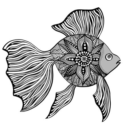 Main poissons dessinée avec des éléments floraux dans le style noir et blanc