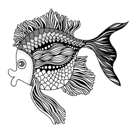 black and white line drawing: Vector hand drawn doodle outline fish illustration. Decorative fish drawing with abstract ornaments Illustration