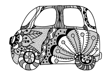 mini van: Hippie vintage car a mini van. Made by trace from sketch. Monochrome vector illustration.