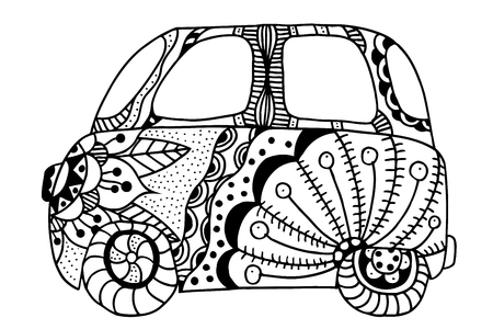 woodstock: Hippie vintage car a mini van. Made by trace from sketch. Monochrome vector illustration.