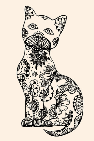 hypnotized: Cat with abstract pattern. Vector illustration. Hand drawn Doodle artwork. Summer concept for party card, ticket, branding, logo, label. Black, beige color