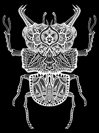 isolated illustartion: Vector Zentangle Bug, monochrome illustartion tribal totem insect for adult Coloring books or tattoos with high details isolated on black background. Vector white sketch. Illustration
