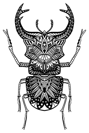 pharaoh: Black and white hand drawn zentangle stylized beetle. Doodle ethnic patterned vector bug. African, egyptian totem. Sketch for tattoo, poster, print or t-shirt Illustration