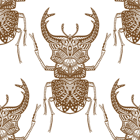 etymology: Monochrome Hand drawn seamless pattern with deer beetle. Brown and white vector illustration