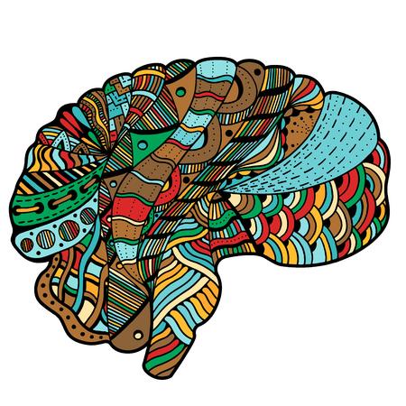 Color incompleto del cerebro humano doodle de curvas decorativas marco modelo ornamental inconsútil Ilustración de vector