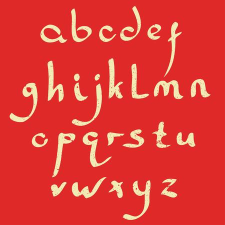 roman alphabet: Vector handmade Roman alphabet in the style of Eastern Arabic script. Yellow on red background