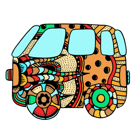 mini van: Hippie vintage car a mini van for adult anti stress. Coloring page with high details. Made by trace from sketch. Hippy color vector illustration.