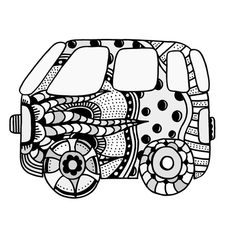 mini car: Hippie vintage car a mini van. Made by trace from sketch. Monochrome vector illustration.