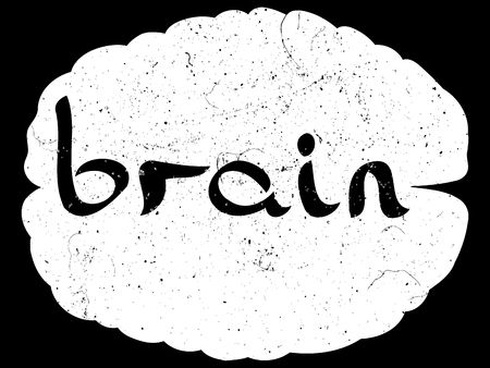 epistemology: Brain text with hand drawn brain sketch. VECTOR illustration, handwritten letters. Illustration