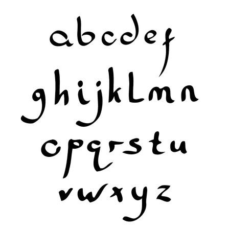 roman alphabet: Vector handmade Roman alphabet in the style of Eastern Arabic script. Black and white Illustration