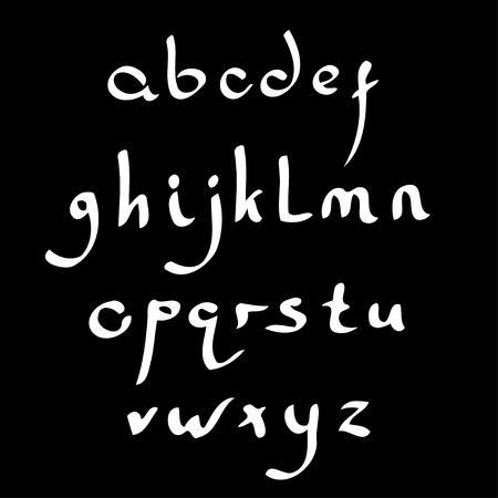 roman alphabet: Vector handmade Roman alphabet in the style of Eastern Arabic script. Black and white Illustration