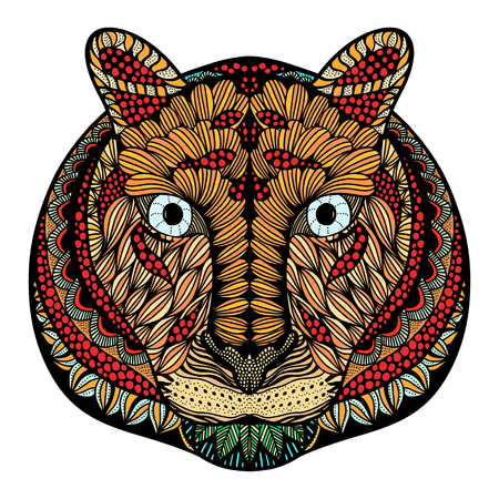 royal safari: Tiger head. Adult antistress coloring page. Colored hand drawn doodle animal. Ethnic patterned vector. African, indian, totem tribal