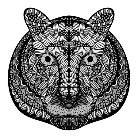 tiger page: Tiger head. Adult antistress coloring page. Black white hand drawn doodle animal. Ethnic patterned vector. African, indian, totem tribal