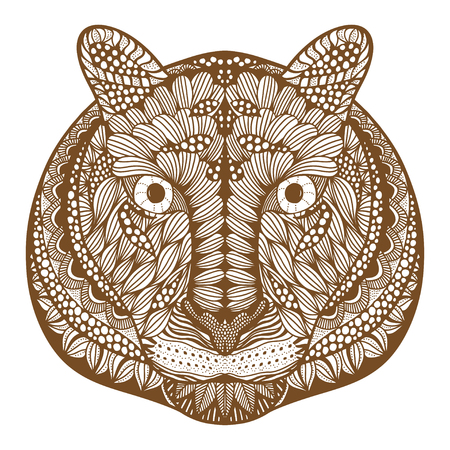 totem indien: Tiger head. Adult antistress coloring page. Brown white hand drawn doodle animal. Ethnic patterned vector. African, indian, totem tribal