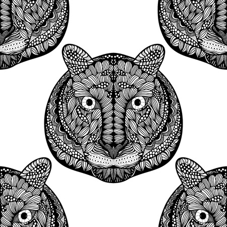 undomesticated: Black and white Seamless Tiger pattern. Vector illustration image