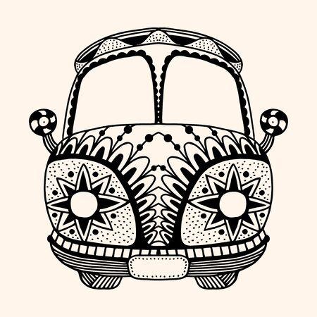 mini car: Hippie vintage car a mini van Detailed illustration. Vector artwork. Black, beige color Illustration