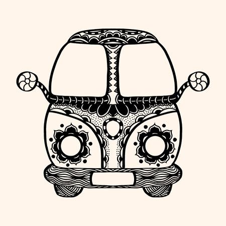 mini van: Hippie vintage car a mini van Detailed illustration. Vector artwork. Black, beige color Illustration