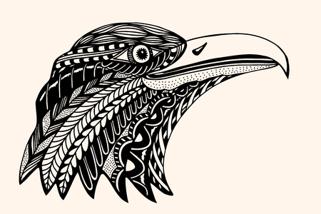 eagle tattoo: Hand Drawn head of eagle. Detailed illustration. Vector artwork. Black, beige color. Sketch for tattoo or indian makhenda design. Can be used for postcard, t-shirt, bag or poster.