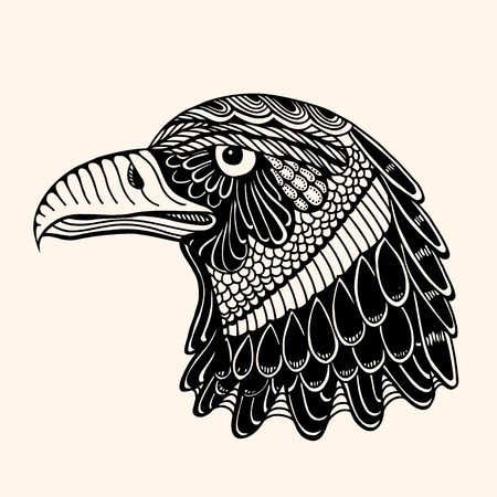 independent day: Hand Drawn head of eagle. Detailed illustration. Vector artwork. Black, beige color. Sketch for tattoo or indian makhenda design. Can be used for postcard, t-shirt, bag or poster.