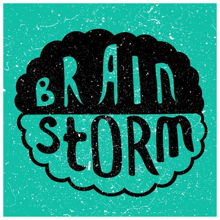 analogy: Human brain with text - Brain Storm. Conceptual vector illustration for creative brainstorm metaphor. Illustration