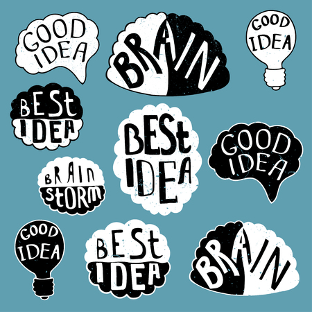 best idea: Set of labels with texts, Human brain with text - Best Idea, Good Idea, Brain, Bulb - Good Idea. Conceptual vector illustration for creative brainstorm metaphor.