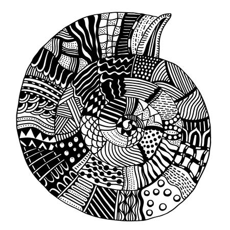 Concha, concha marina con dibujos zentangle, página en blanco y negro para colorear para adultos, diseño del vector del Doodle