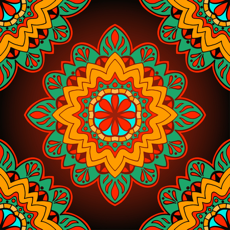 oriental rug: Oriental colorful ornament. Seamless vector ornate background. Beautiful pattern of mandalas. Template for rug.